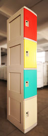 China Four Tier Green Plastic School Lockers H1810 * W310 * D460mm With Clover Keyless supplier