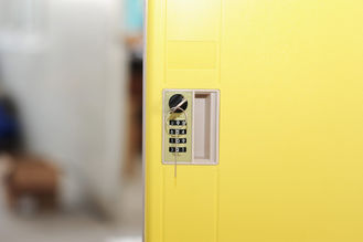 China 2 Comparts 1 Column Employee Storage Lockers Yellow With Mechanical Lock supplier