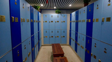 China Triple Tier Lockers With E - Lock , Blue Plastic Employee Lockers For Hotel supplier