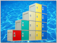 China 4 Tier ABS Plastic Lockers , Locker Room Lockers With Clover Lock / Door Blue factory