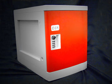 China Anti Rust / Anti Water Red ABS Plastic Lockers 4 Tier For Employee Keyless factory