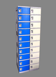 10 Tier Beige / Yellow Charging Station Lockers 2 Layer Cell Phone Charging Lockers