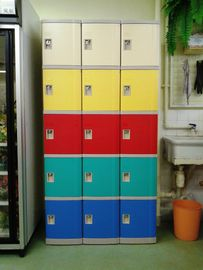 Swimming Pool Plastic School Lockers 5 Tier Red / Yellow / Bule Door For Storage