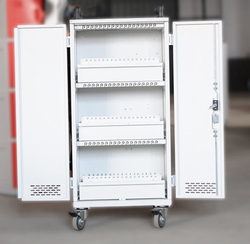 White Mobile Charging Cart Steel Material 60 Units Laptop Charging Cart