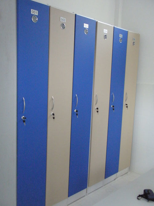 Single Tier Lockers PVC Material , Gray Cabinet Commercial Gym Lockers
