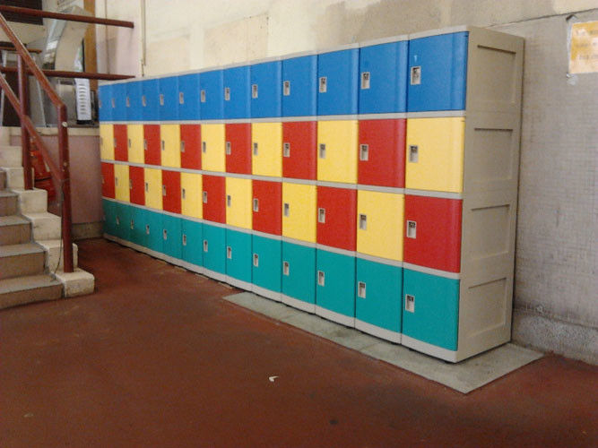 Safety / Ventilation Plastic School Lockers Red Door Cabinet Gray 2 Tier Lockers