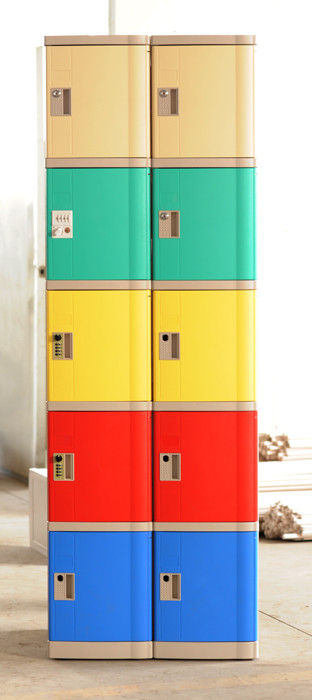 Anti - Corrosion 5 Tier Red Storage Lockers Strong / Beautiful For Supermarket